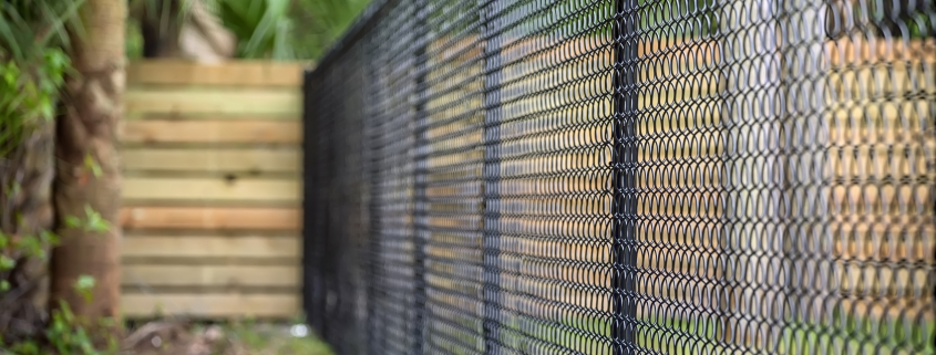 image of a black chainlink fence