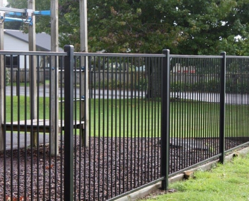 Image showing aluminium security fencing surrounding a school playground