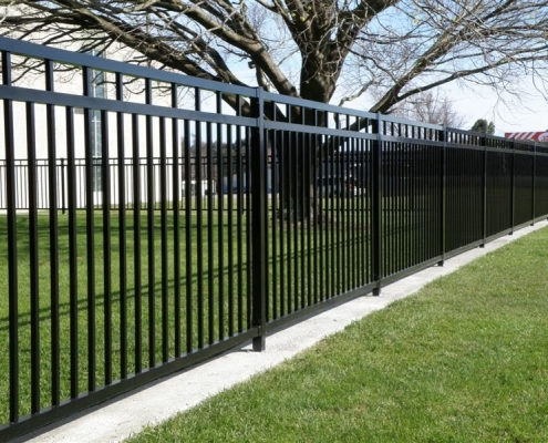 Image showing aluminium security fencing surrounding school grounds