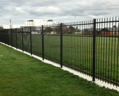 Image showing steel security fencing surrounding school playing fields