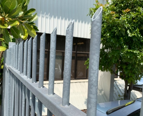 Image showing steel security fencing surrounding a school building