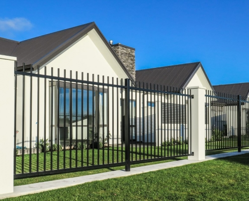 Image showing aluminium security fencing surrounding a residential property's front lawn area