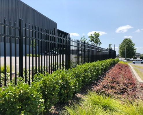 Image showing aluminium security fencing surrounding a commercial property
