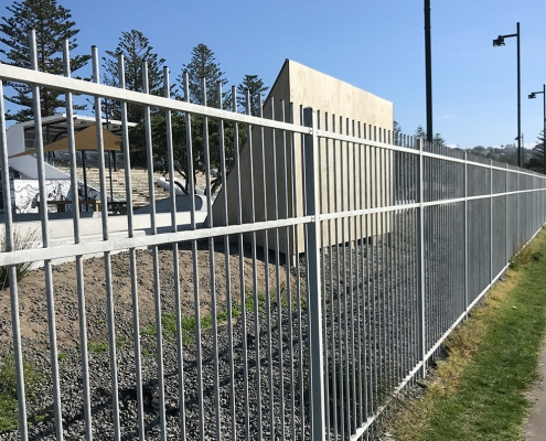 image of of commercial steel security fencing